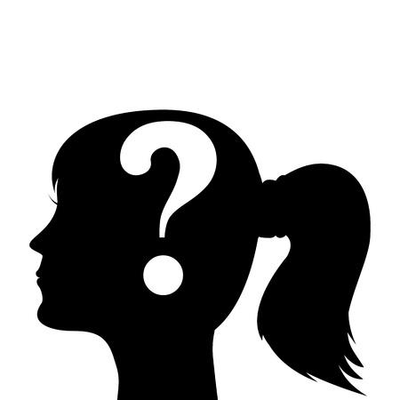 whose: Silhouette testa umana con un punto interrogativo Vettoriali