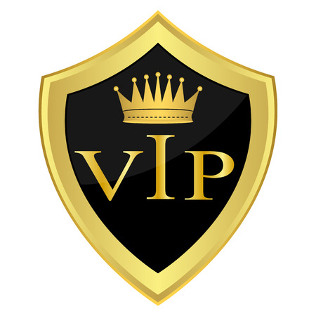 Black shield with the inscription   VIP   Vector