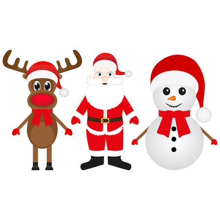 cobbled: Christmas reindeer, snowman and Santa Claus