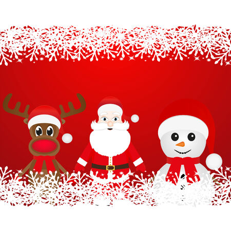 cobbled: Christmas reindeer, snowman and Santa Claus Illustration