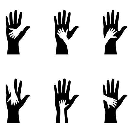 children s: silhouettes of adult and children s hands Illustration