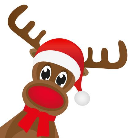 rudolf: Christmas reindeer in a red scarf Illustration