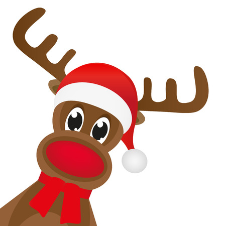 Christmas reindeer in a red scarf Stock Illustratie