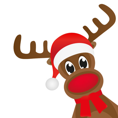 cartoon santa: Christmas reindeer in a red scarf Illustration