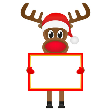 Christmas reindeer with blank banners Vector