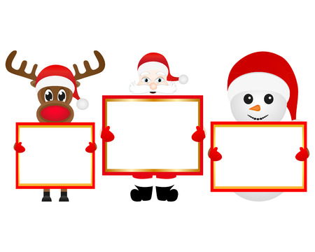 cobbled: Santa Claus, snowman and reindeer with blank banner