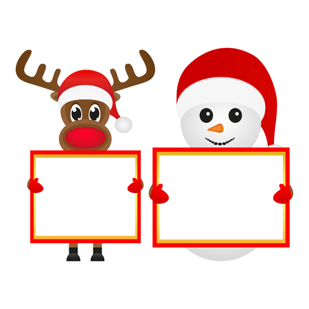 Snowman and Reindeer with blank banner Vector