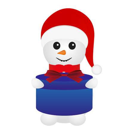 cobbled: Snowman with gift in hand