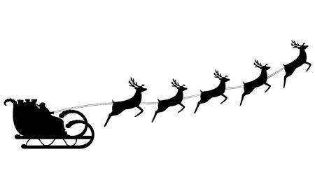renos de navidad: Paseos de Papá Noel en un trineo en arnés en el reno Vectores