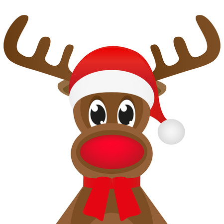 Christmas reindeer in a red scarf Vector