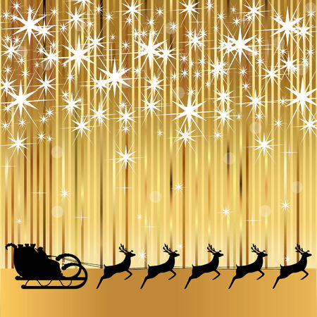 rides: Santa Claus rides in a sleigh with reindeer on a gold background Illustration