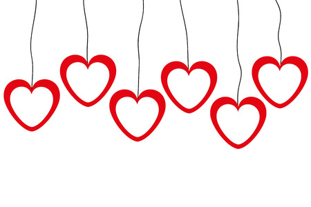 banners of red and white hearts on a clothesline Vector
