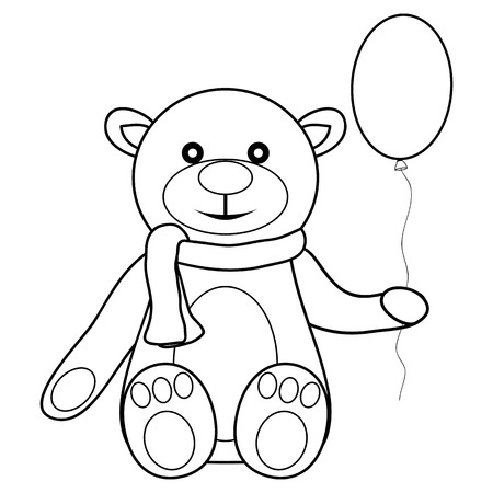 toy teddy bear with balloon illustration Vector