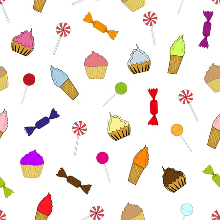 ready cooked: Seamless texture cupcakes, ice cream and candy Illustration
