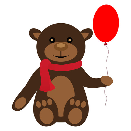 toy teddy bear with balloon Vector