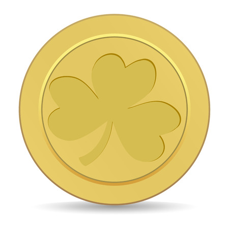 gold coin with the image of shamrock clover Vector