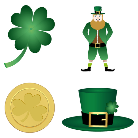 clover, leprechaun, hat and gold coin Vector
