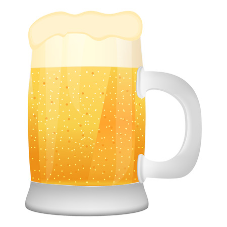 walled: mug of beer on white background
