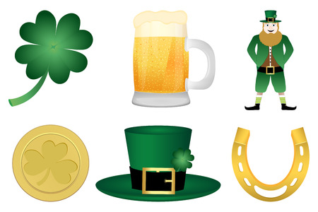 symbols of St  Patrick s Day Vector