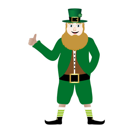 leprechaun with beer St  Patrick s Day Vector