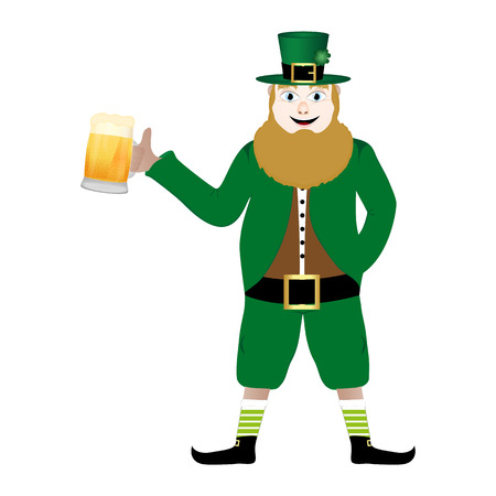 st  patrick's day: leprechaun with beer St  Patrick s Day Illustration