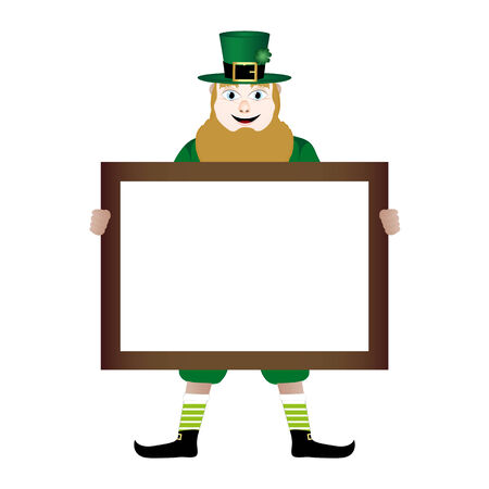 leprechaun with banner in hands Vector