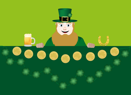leprechaun with beer, a horseshoe, clover and coins Vector