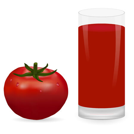 tomato juice: tomato and glass of tomato juice Illustration