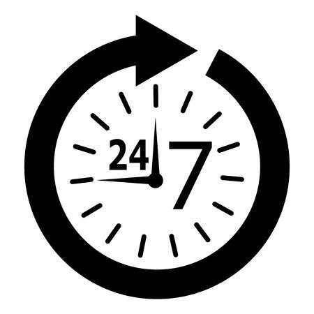 24 7: opening hours Illustration