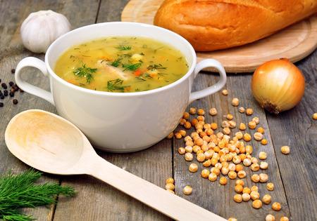 pea soup with vegetables  Banco de Imagens