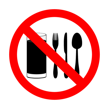 prohibitory sign  with food and beverages are not permitted  Illustration