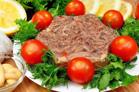 フレッシュ ハーブとトマトのゼリー状の肉 写真素材
