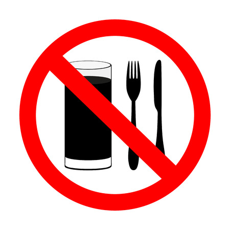prohibitory sign  with food and beverages are not permitted  Vector