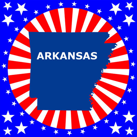 arkansas state map: map of the U S  state of Arkansas Illustration