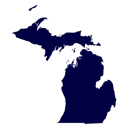 map of the U S  state of Michigan Illustration