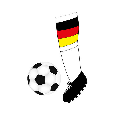 foot football player with the flag of Germany and the ball Vector