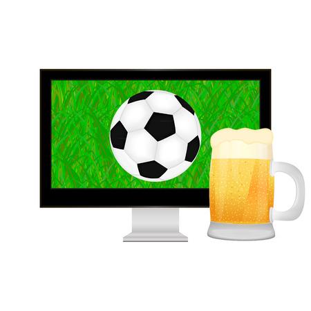 uefa: der Ball in den TV-Bildschirm und Becher Bier