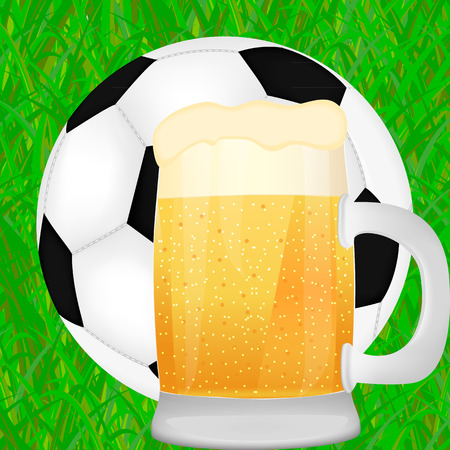 mug of beer and a soccer ball on green grass background  Vector