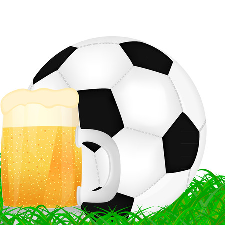 mug of beer and a soccer ball on green grass Vector