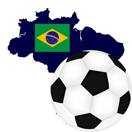 Brazil map with flag and soccer Ball Vector