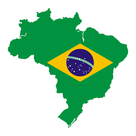 Brazil map with national flag Vector