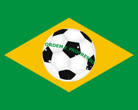 flag of Brazil with a picture of a soccer ball Vector