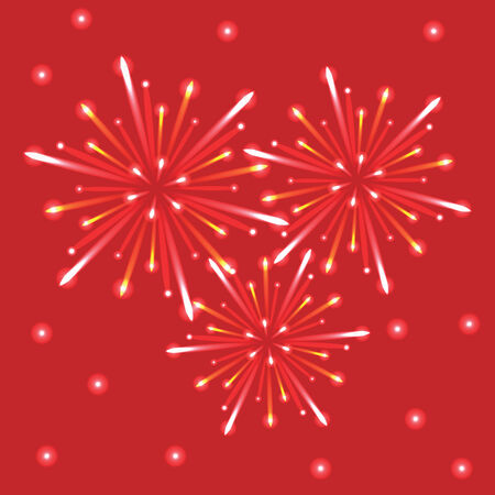 fireworks in the red sky Vector