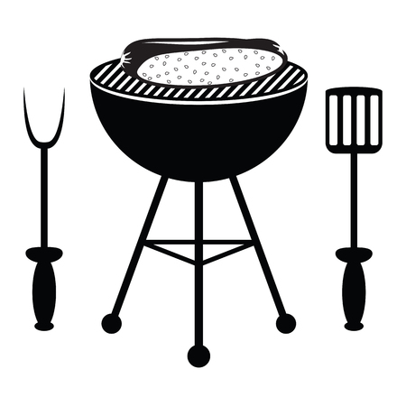 hot dog roast on the barbecue grill Vector