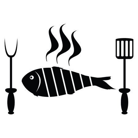 Fish roast on the barbecue grill Vector
