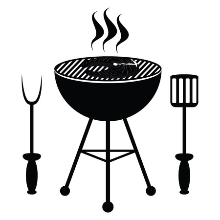 Fish roast on the barbecue grill Illustration