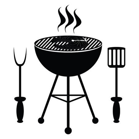Fish roast on the barbecue grill Ilustração