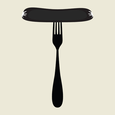 deli meat: sausage on a fork icon