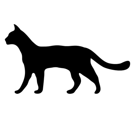 pussy cat: silhouette of a cat Illustration