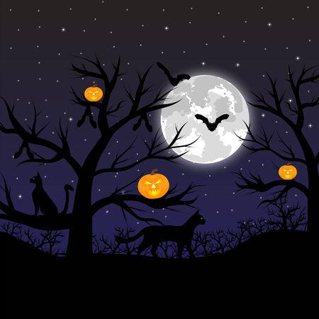 volle maan: Bos met pompoenen, vleermuizen en katten op de volle maan